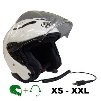 SHOEI J-Cruise II Motorrad-Jethelm P/J homologiert mit CT Hör-/Sprechgarnitur / WEISS / M