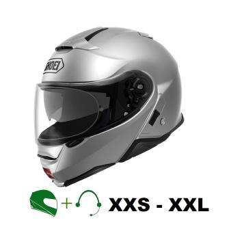SHOEI Neotec II Motorrad-Klapphelm P/J homologiert mit CT Hör-/Sprechgarnitur / SILBER / M