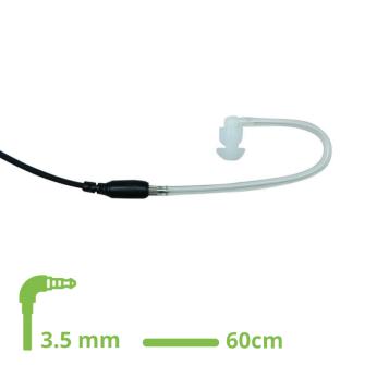 HEADSET Schallschlauch-Ohrhörer klar mit 60 cm glattem Kabel / 3.5 mm Klinkenstecker gewinkelt