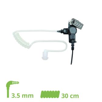 HEADSET Schallschlauch-Ohrhörer Lock type mit 30 cm Spiralkabel und 3.5 mm Klinkenstecker gewinkelt
