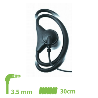D-SHAPE HEADSET adjustable flexible 30 cm cable coiled / 3.5 mm jack angled