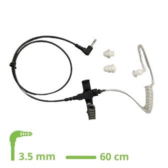 HEADSET Schallschlauch-Ohrhörer lock type mit 60 cm glattem Kabel / 3.5 mm Klinkenstecker gewinkelt