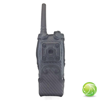 AKKUPOINT Funkholster Synthetik/Leder / Kontaktpro-Clip / Zusatzöffnung unten / zu POLYCOM TPH900