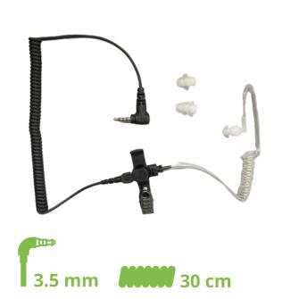 SCHALLSCHLAUCH-OHRHÖRER Lock type mit 30 cm Spiralkabel / 3.5 mm Klinkenstecker (4-polig) gewinkelt