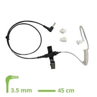 HEADSET Schallschlauch-Ohrhörer Lock type mit 45 cm glattem Kabel / 3.5 mm Klinkenstecker gewinkelt