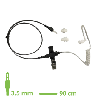 EAR KIT WITH TUBE ACOUSTIC lock type with 90cm straight cable 3.5mm jack straight