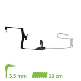 HEADSET Schallschlauch-Ohrhörer Lock type mit 20cm Spiralkabel und 3.5 mm Klinkenstecker gewinkelt