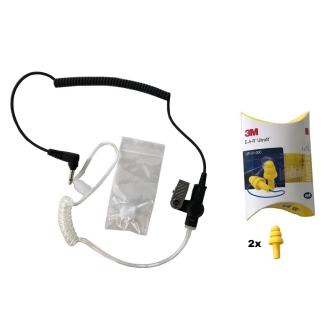 HEADSET Schallschlauch-Ohrhörerset mit 30cm Spiralkabel / 3.5mm Klinkenstecker gewinkelt