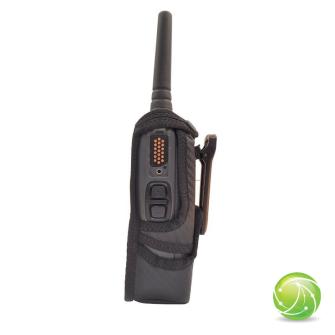 AKKUPOINT Funkholster Synthetik/Leder / Gürtelclip / Zusatzöffnung unten / zu POLYCOM TPH900