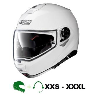 NOLAN N100-5 Motorrad-Klapphelm P/J homologiert mit CT Hör-/Sprechgarnitur / WEISS / M